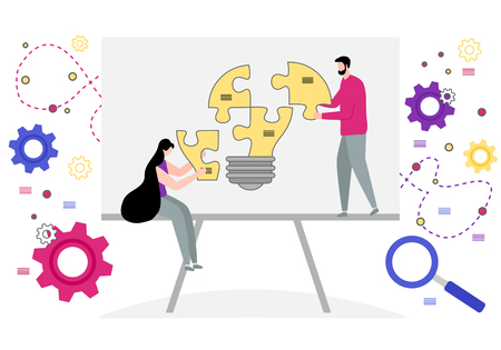 Vector illustration with people connect puzzle elements. Teamwork, cooperation, partnership. Business concept. Team metaphor. Flat style. Design for web page, presentation, print. Stock Vector - 124810454