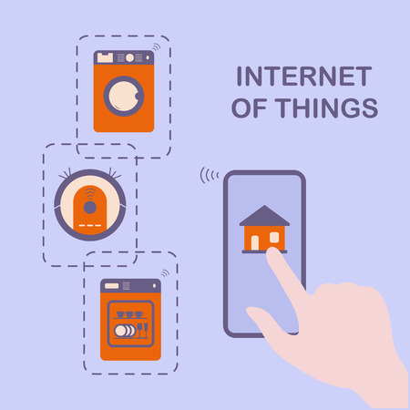 Persons hand operating smart home appliances with device. Remote control from the device of dishwasher, washing machine, robot vacuum cleaner. Using smart technology at home. Internet of things.