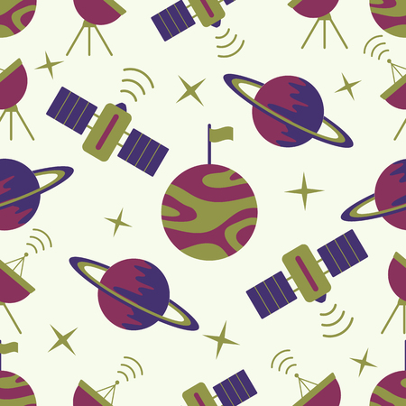 Seamless vector pattern with planets, Saturn, stars, orbital station, radar. Space exploration. Astronomy. Science. Design for astronomy apps, websites, print. Illusztráció