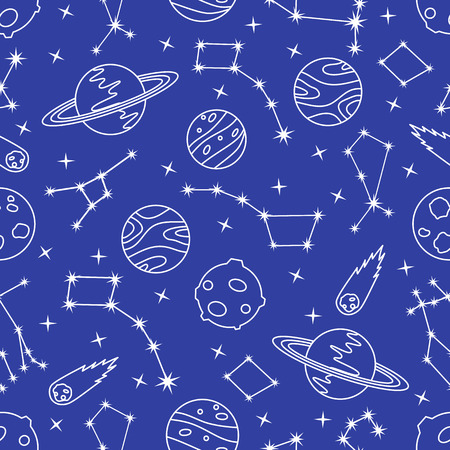 Seamless vector pattern with constellations, planets, Saturn, comet. Space exploration. Astronomy. Science. Design for astronomy apps, websites, print. Illusztráció