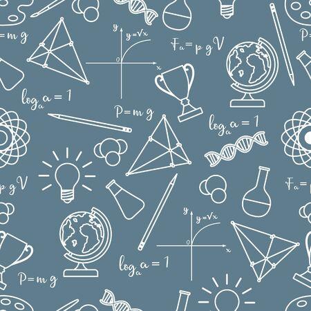 Vektornahtloses Muster mit wissenschaftlichen Bildungselementen: Globus, Formeln, Flaschen, Moleküle, Atom, DNA, Funktionsdiagramm, Bleistift, Dreieck. Design für Websites, Poster, Apps, Print.