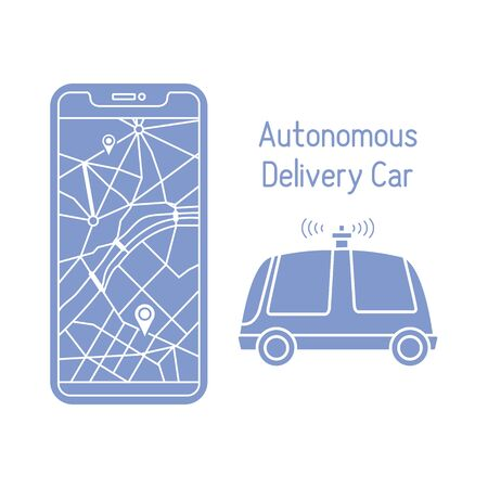 Vector illustration with self-driving car, automated car, autonomous vehicle,  driverless car. Navigation, remote control, tracking transport. Order in the application, delivery with robot car.