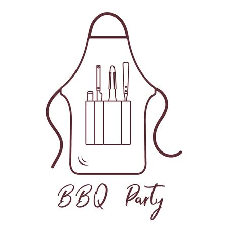 Vector illustration with barbecue apron, grill and barbecue tools. BBQ party background. Design for party card, banner, poster or print.