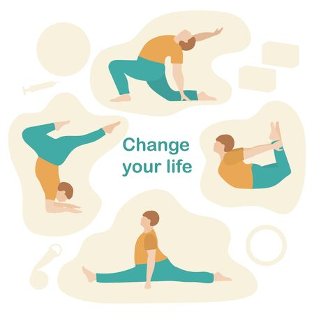 Vector illustration with person does yoga exercise, yoga pose on background of the yoga accessories. Healthy lifestyle. Balance training. Design for app, websites, print, presentation