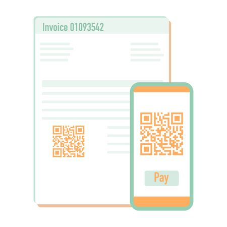 Vector illustration with phone scan qr code for payment invoice. Electronic, digital technology, barcode. Design for web page, banner, presentation, social media, poster, print. Flat style.