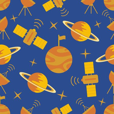 Seamless vector pattern with planets, Saturn, stars, orbital station, radar. Space exploration. Astronomy. Science. Design for astronomy apps, websites, print. Illustration