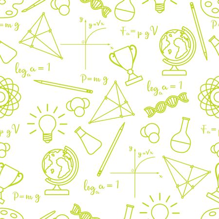 Vector seamless pattern with scientific, education elements: globe, formulas, flasks, molecules, atom, DNA, function graph, pencil, triangle. Design for websites, poster, apps, print.
