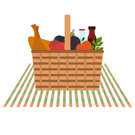 Vector illustration with wicker picnic basket with food and drink. Family picnic concept. Summer, spring barbecue, picnic background. Romantic dinner, lunch for lovers outdoors.