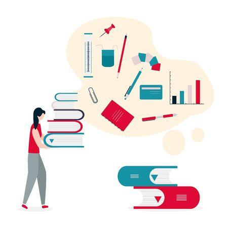 Vector illustration with girl, stack of books. Education, study, working background. Flat style. Design for web page, presentation, print. Vektoros illusztráció