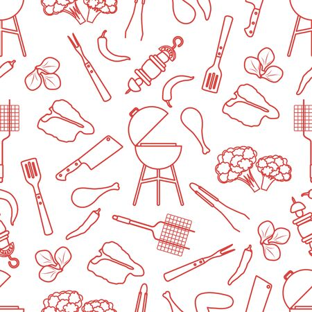 Seamless pattern with grill and barbecue tools, food. BBQ party background. Design for party card, banner, poster or print.
