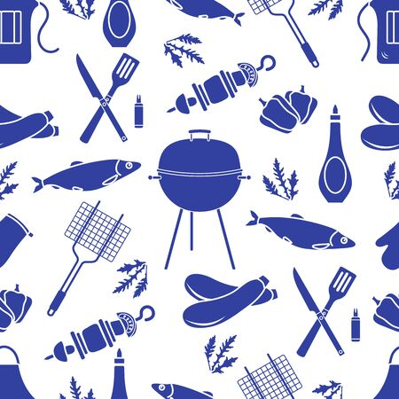 Seamless pattern with grill and barbecue tools. BBQ party background. Design for party card, banner, poster or print. Ilustracja