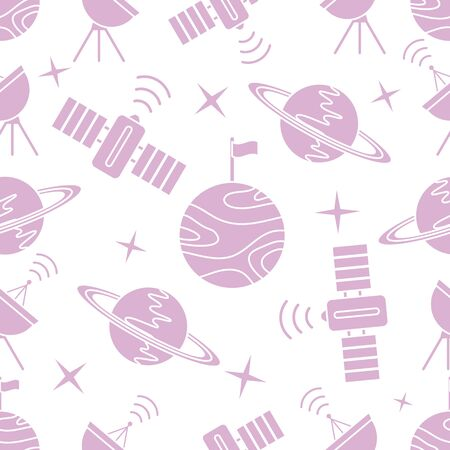 Seamless vector pattern with planets, Saturn, stars, orbital station, radar. Space exploration. Astronomy. Science. Design for astronomy apps, websites, print. Иллюстрация
