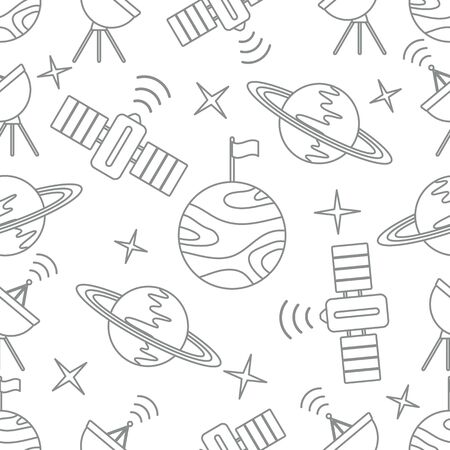 Seamless vector pattern with planets, Saturn, stars, orbital station, radar. Space exploration. Astronomy. Science. Design for astronomy apps, websites, print. Ilustração