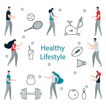 Vector illustration with people, exercise bike, american football ball, bowling, tennis, badminton  equipment, kettlebell, dumbbell. Sport Healthy lifestyle Design for app, websites, print 写真素材 - 127807005
