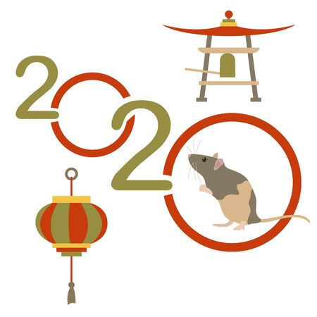 Happy new year. Vector illustration with 2020 year numbers and rat. Rat zodiac sign, symbol of 2020 on the Chinese calendar. Year of the rat. Chinese horoscope. Asian elements for New Years design.