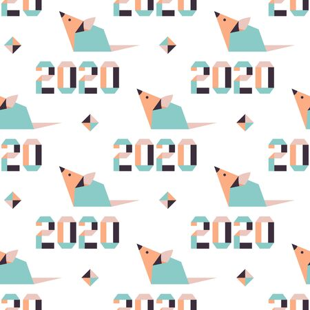 Happy new year. Vector seamless pattern with origami 2020 year numbers and rat. Rat zodiac sign, symbol of 2020 on the Chinese calendar. Year of the rat. Chinese horoscope.