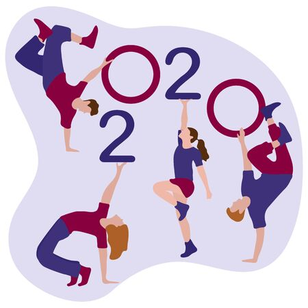 Happy new year. Vector illustration with 2020 year numbers and dancing people. Street modern dance. New Years Eve Party. Design for banner, poster or print.