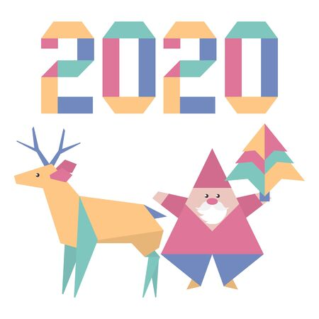 Happy new year 2020, Merry Christmas. Vector illustration with origami 2020 year numbers, Santa Claus, deer. Design for poster, party card, wrapping, fabric, print.