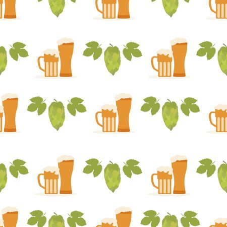 Festive seamless pattern with beer, mug, glass, hop cone, leaves. Beer party background. Munich Beer Festival Oktoberfest. Design for wrapping, fabric, print.  イラスト・ベクター素材
