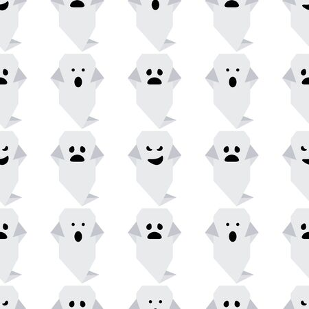 Halloween 2020. Vector seamless pattern with origami ghost characters. Design for party card, wrapping, fabric, print.