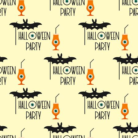 Halloween party 2020. Vector seamless pattern with inscription Halloween party, eye, glass and tube, mask bat. Design for party card, wrapping, fabric, print.