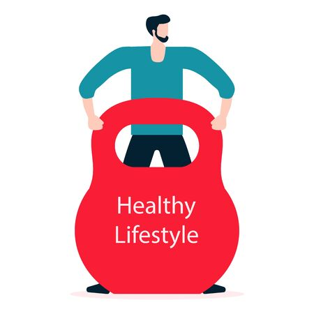 Vector illustration with man and kettlebell. Sport. Fitness app. Workout for wellness, activity. Healthy lifestyle. Design for app, websites, print, presentation.