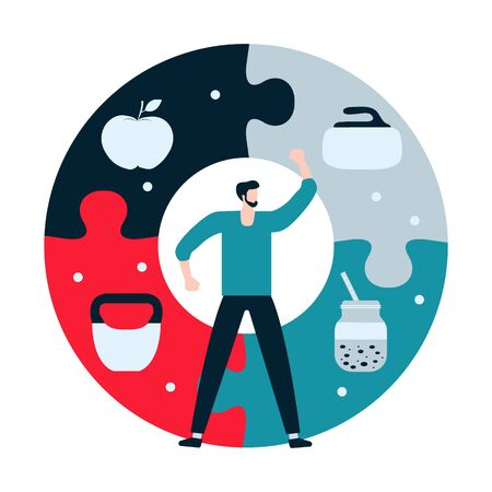 Vector illustration with man, puzzle, kettlebell, curling equipment, smoothie, apple. Sport. Workout for wellness, activity. Healthy lifestyle. Proper nutrition. Design for app, websites, print