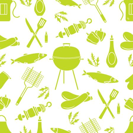 Seamless pattern with grill and barbecue tools. BBQ party background. Design for party card, banner, poster or print.  イラスト・ベクター素材