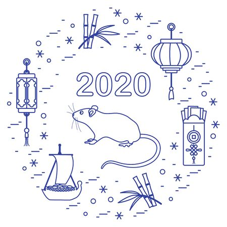 Happy new year. Vector illustration with 2020 year numbers, rat, lanterns, envelopes of money, bamboo, treasure ship, coin for luck. Rat zodiac sign, symbol of 2020 new year. Year of the rat, mouse 写真素材 - 128482005