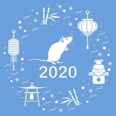 Happy new year. Vector illustration with 2020 year numbers, rat, lanterns, bell, mochi, bamboo, orange. Rat zodiac sign, symbol of 2020 on the Chinese calendar. Year of the rat. Chinese horoscope. 写真素材 - 128482009