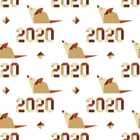 Happy new year. Vector seamless pattern with origami 2020 year numbers and rat. Rat zodiac sign, symbol of 2020 on the Chinese calendar. Year of the rat. Chinese horoscope. 写真素材 - 128482015