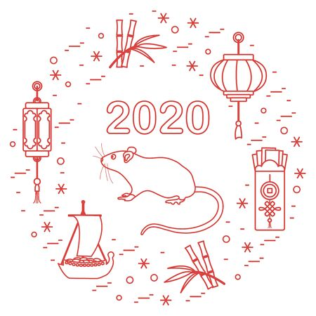 Happy new year. Vector illustration with 2020 year numbers, rat, lanterns, envelopes of money, bamboo, treasure ship, coin for luck. Rat zodiac sign, symbol of 2020 new year. Year of the rat, mouse 写真素材 - 128482024