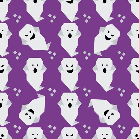 Halloween 2020. Vector seamless pattern with origami ghost characters. Design for party card, wrapping, fabric, print. 写真素材 - 128341591