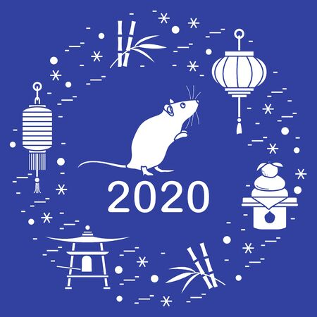 Happy new year. Vector illustration with 2020 year numbers, rat, lanterns, bell, mochi, bamboo, orange. Rat zodiac sign, symbol of 2020 on the Chinese calendar. Year of the rat. Chinese horoscope. 写真素材 - 128482037