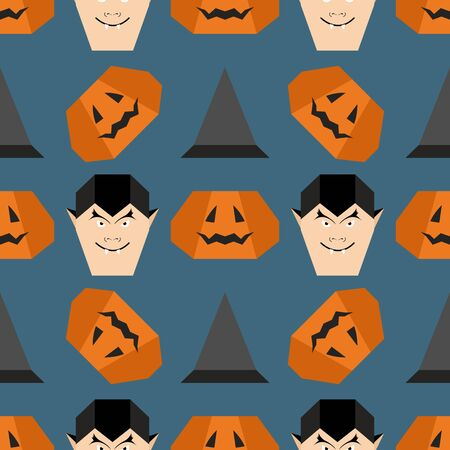 Halloween 2020. Vector seamless pattern with origami vampire face, witch hat, pumpkin. Design for party card, wrapping, fabric, print.