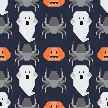 Halloween 2020. Vector seamless pattern with origami spider, ghost, pumpkin. Design for party card, wrapping, fabric, print.