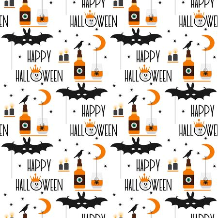 Halloween party 2020 Vector seamless pattern with inscription Happy Halloween, eye, glass, candles, spider, mask bat, month, stars, skull, crown, bottle, crow. Design for card, wrapping, fabric, print Ilustração