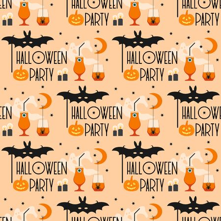 Halloween party 2020. Vector seamless pattern with inscription Halloween party, eye, glasses, pumpkin, spider, mask bat, candles, month, stars, ghost. Design for party card, wrapping, fabric, print Ilustração