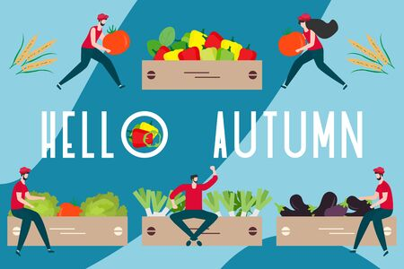 Vector illustration with people harvesting vegetables, boxes, hello autumn inscription. Harvesting, agricultural work. Fall Harvest Fest design. Design for web page, presentation, print.