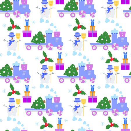 Happy new year 2020, Merry Christmas vector seamless pattern with train, bells, Christmas tree, gifts. Design for wrapping, fabric, print. Ilustrace