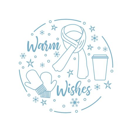Happy new year 2020, Merry Christmas vector illustration. Scarf, snowflakes, cup, mittens, warm wishes inscription. Design for wrapping, fabric, print. 向量圖像