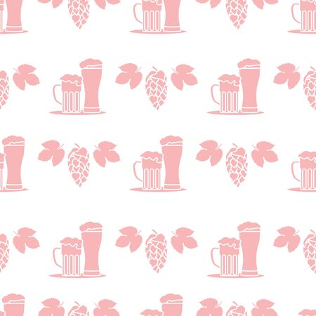 Festive seamless pattern with beer, mug, glass, hop cone, leaves. Beer party background. Munich Beer Festival Oktoberfest. Design for wrapping, fabric, print. Çizim