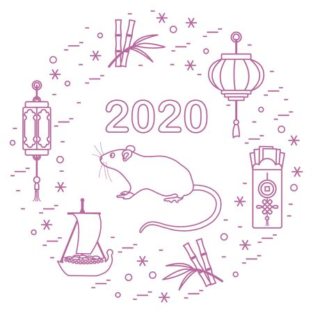 Happy new year. Vector illustration with 2020 year numbers, rat, lanterns, envelopes of money, bamboo, treasure ship, coin for luck. Rat zodiac sign, symbol of 2020 new year. Year of the rat, mouse