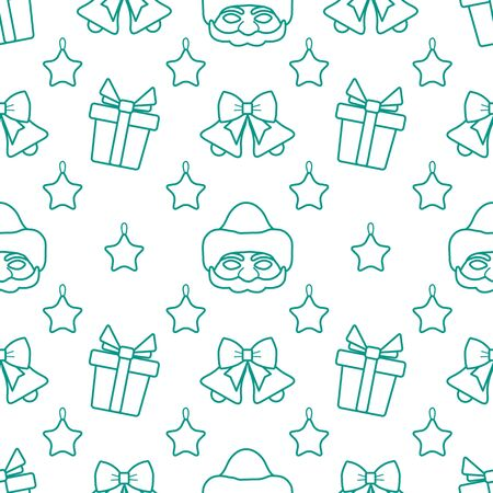 Happy new year 2020, Merry Christmas vector seamless pattern with Santa Claus mask, Christmas toy star, bells, gifts. Design for wrapping, fabric, print. Stock Illustratie