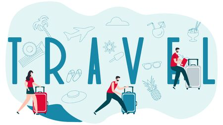 Vector illustration. People with suitcases traveling on vacation, travel inscription. Design for web page, presentation, print.