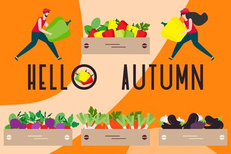 Vector illustration with people harvesting vegetables, boxes, hello autumn inscription. Harvesting, agricultural work. Fall Harvest Fest design. Design for web page, presentation, print.