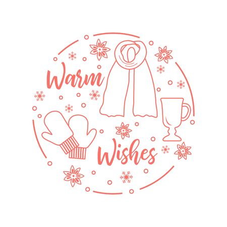 Happy new year 2020, Merry Christmas vector illustration. Scarf, snowflakes, mulled wine glass, mittens, warm wishes inscription. Design for wrapping, fabric, print.
