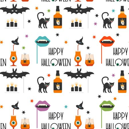 Halloween party 2020. Vector seamless pattern with inscription Happy Halloween, eye, glasses, spider, candles, bottle, cat, hat, bat, vampire mouth mask, skull, stars. Design party card, fabric, print