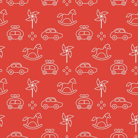 Vector seamless pattern with kids toys. Pinwheel, rocking horse, cars. Children background. Design for wrapping, fabric, print. Çizim