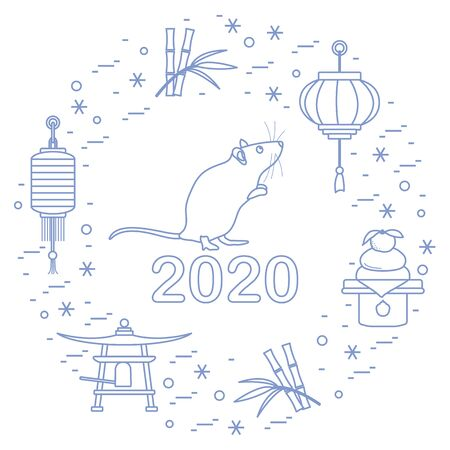 Happy new year. Vector illustration with 2020 year numbers, rat, lanterns, bell, mochi, bamboo, orange. Rat zodiac sign, symbol of 2020 on the Chinese calendar. Year of the rat. Chinese horoscope. Çizim